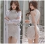 ชุดเดรสเกาหลี พร้อมส่งเดรสผ้าลูกไม้สีนู้ดสไตล์เซ็กซี่เฟมินีน thumbnail 7