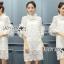 ชุดเดรสเกาหลี พร้อมส่ง เดรสลูกไม้สไตล์โมเดิร์นวินเทจมี 3 สี thumbnail 7
