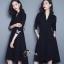 ชุดเดรสเกาหลี พร้อมส่ง Mini dress สีพื้นแขนยาว ผ้าสเปนเดก thumbnail 1