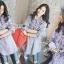 เสื้อผ้าเกาหลี พร้อมส่งเชิ้ตลายทางสีฟ้าปักลายดอกไม้ thumbnail 3