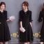 ชุดเดรสเกาหลี พร้อมส่งเดรสสีดำแบบสุภาพ ด้านหน้าอัดพรีทท thumbnail 5