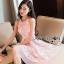 ชดเดรสเกาหลี พร้อมส่งเดรสผ้าเครปสีชมพูปักผีเสื้อตกแต่งสร้อยคอมุก thumbnail 3