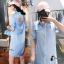 เสื้อผ้าเกาหลี พร้อมส่งAzura Skyblue Shirt + Embroidered Luxury Skirt thumbnail 9