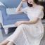 ชุดเดรสเกาหลี พร้อมส่งLong dressยาวสีขาวดูสะอาดตา thumbnail 5