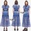 ชุดเดรสเกาหลี พร้อมส่งเดรสผ้าลูกไม้สีฟ้าตกแต่งโบสไตล์ Self-Portrait thumbnail 8