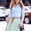 เสื้อผ้าเกาหลี พร้อมส่งAzura Skyblue Shirt + Embroidered Luxury Skirt thumbnail 4
