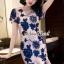เสื้อผ้าเกาหลี พร้อมส่งPinkyPeach Dress Navy Flora thumbnail 7