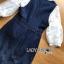 เสื้อผ้าเกาหลี พร้อมส่งเซ็ตเสื้อลูกไม้สีชาวทับด้วยเดรสเดนิมพิมพ์ลาดอกไม้ thumbnail 14