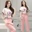 เสื้อผ้าเกาหลี พร้อมส่งPastel Tone Water Drawing Top + Pant Set thumbnail 3