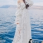 ชุเดรสเกาหลี พร้อมส่งBeach Angel Luxury White Lace Dress thumbnail 4