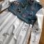 เสื้อผ้าเกาหลี พร้อมส่งเชิ้ตเดรสผ้าคอตตอนตกแต่งเดนิมปักลายผีเสื้อ thumbnail 11