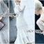 ชุดเดรสเกาหลี พร้อมส่งเดรสผ้าลูกไม้สีขาวตกแต่งระบายสุดหรู thumbnail 8