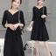 ชุดเดรสเกาหลี พร้อมส่งClassic Long Sleeves Black Dress thumbnail 1