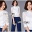 เสื้อผ้าเกาหลี พร้อมส่งเสื้อลูกไม้สีขาวผ้านิ่มใส่สบาย thumbnail 12