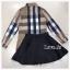 เสื้อผ้าเกาหลีพร้อมส่ง เสื้อเชิ้ตแขนยาวคอปกลายสุดคลาสสิคมาคู่กางเกงกระโปรงขาสั้น thumbnail 4