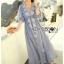 ชุดเดรสเกาหลี พร้อมส่งเดรสยาวผ้าชีฟองปักลายสไตล์บีช thumbnail 14