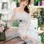ชุดเดรสเกาหลี พร้อมส่งเดรสผ้าลูกไม้สีขาวปักลายดอกไม้สีหวาน thumbnail 5