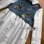 เสื้อผ้าเกาหลี พร้อมส่งเชิ้ตเดรสผ้าคอตตอนตกแต่งเดนิมปักลายผีเสื้อ thumbnail 8