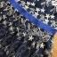 ชุดเดรสเกาหลี พร้อมส่งเดรสผ้าทูลเลสีน้ำเงินปักลายดอกกุหลาบสีทอง thumbnail 7