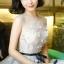ชุดเดรสเกาหลีพร้อมส่ง Grey Princess Luxury 3D Floral Dress thumbnail 2