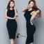 ชุดเดรสเกาหลี พร้อมส่งBlack Back Show Off Sexy Dress thumbnail 9