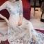 ชุดเดรสเกาหลี พร้อมส่งlong dress ผ้ามุ้งแขน 5 ส่วน thumbnail 5