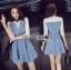 ชุดเดรสเกาหลี พร้อมส่งมินิเดรสเกาะอกผ้าเดนิมทับเสื้อลูกไม้สีขาว thumbnail 5