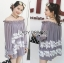 เสื้อผ้าเกาหลี พร้อมส่งเสื้อยาวผ้าชีฟองทรงเปิดไหล่ปักลูกไม้ thumbnail 3