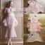 ชุดเดรสเกาหลี พร้อมส่งเดรสผ้าลูกไม้สีชมพูอ่อนตกแต่งระบายผ้าออร์แกนซ่า thumbnail 7