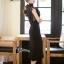 ชุดเดรสเกาหลี พร้อมส่งlong dressสีดำงานลูกไม้สีดำช่วงบน thumbnail 5