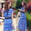 ชุดเดรสเกาหลี พร้อมส่งเดรสผ้าลูกไม้สีฟ้าตกแต่งโบสไตล์ Self-Portrait thumbnail 6