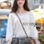 เสื้อผ้าเกาหลี พร้อมส่งเสื้อผ้าคอตตอนทอลายตกแต่งลูกไม้สีขาวสไตล์วินเทจ thumbnail 2