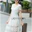ชุดเดรสเกาหลี พร้อมส่งเดรสยาวผ้าลูกไม้สีขาวตัดต่อผ้าทูลล์สุดคลาสสิก thumbnail 7