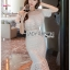 ชุดเดรสเกาหลีพร้อมส่ง เดรสชีฟองสีขาวทรงระบายเลเยอร์กระโปรงผ้าลูกไม้ thumbnail 4