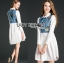 เสื้อผ้าเกาหลี พร้อมส่งเชิ้ตเดรสผ้าคอตตอนตกแต่งเดนิมปักลายผีเสื้อ thumbnail 5