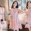 ชดเดรสเกาหลี พร้อมส่งเดรสผ้าเครปสีชมพูปักผีเสื้อตกแต่งสร้อยคอมุก thumbnail 7
