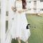 ชุดเดรสเกาหลี พร้อมส่งlong dress สีขาวยาว แขน 3 thumbnail 3