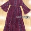 Kay Casual Bohemian Printed Flared-Sleeve Dress with Feather Belt thumbnail 7