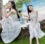 Tanya Summer Chic White Flower Embroidered and Tulle Dress thumbnail 3