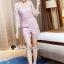 เสื้อผ้าเกาหลี พร้อมส่งShiny Lady PinkGold Leaf Lace Playsuit thumbnail 3