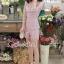 เสื้อผ้าเกาหลี พร้อมส่งShiny Lady PinkGold Leaf Lace Playsuit thumbnail 7