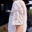 เสื้อผ้าเกาหลี พร้อมส่ง เสื้อสีขาวแขนสั้นเนื้อผ้าฉลุลายลูกไม้ See-Throught ทั้งตัว thumbnail 2