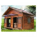 บ้านสุนัขแบบ 2 ห้องนอน ประตูและหน้าต่างมีกันสาดกระจกสำหรับกันลมฝน หลังคาเปิดได้ พื้นถอดได้ มีหลายขนาด