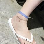 สร้อยข้อเท้า ผ้าถักยีนส์สีฟ้า ห้อยเพชรประดับ เกาหลี