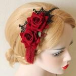 Headband The hair painted red roses ที่คาดผมเกาหลีกุหลาบสีแดง