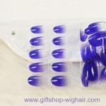 เล็บปลอมแฟชั่นเพนท์สีน้ำเงินสไตล์เกาหลี 24nail (Yunail)กล่องละ24ชิ้น