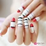 เล็บปลอมเกาหลี ลาย Stripes, black and red