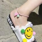 สร้อยข้อเท้า เชือกสายรุ้งแฟนตาซีรูปหน้ายิ้มสีเขียว