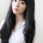 วิกผมหน้าม้ายาวดันลอนปลายเล็กน้อยเกาหลี ( สีดำ )