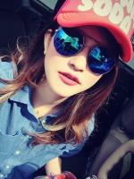 แว่นตากันแดดแฟชั่นเกาหลี กรอบโลหะเลนส์ปรอทสีน้ำเงิน